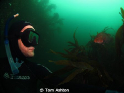 Self portrait with a wrasse. Freediving, St Abbs, Scotland by Tom Ashton 